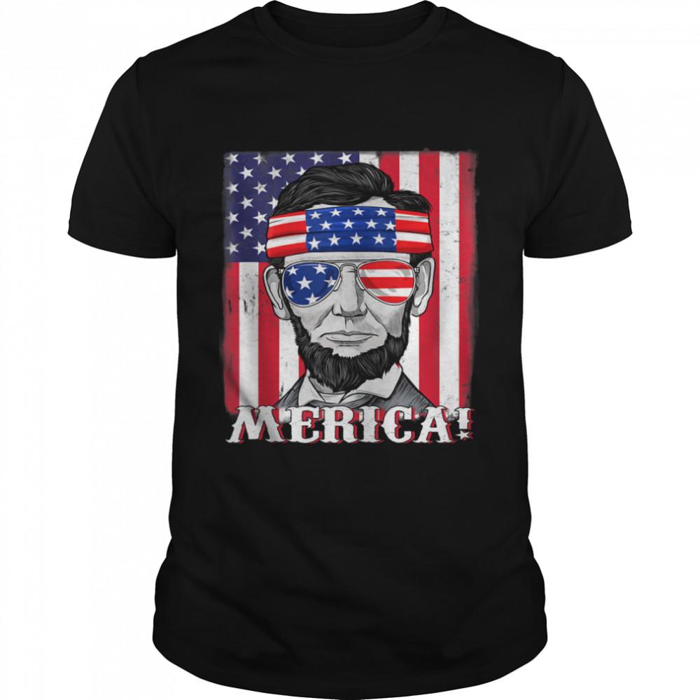 Abraham Lincoln 4th Of July Merica American Flag Shirt