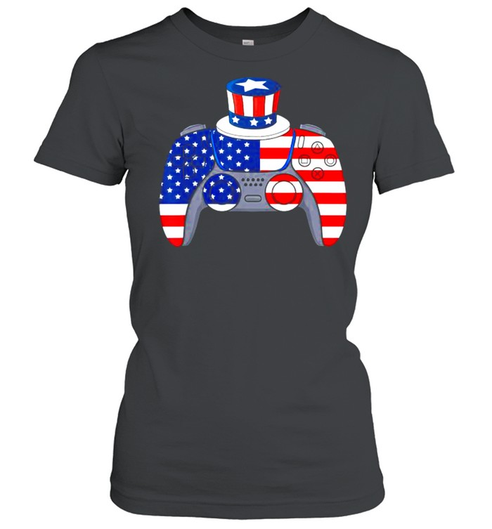 Video Game 4th Of July Gaming American Flag  Classic Women's T-shirt