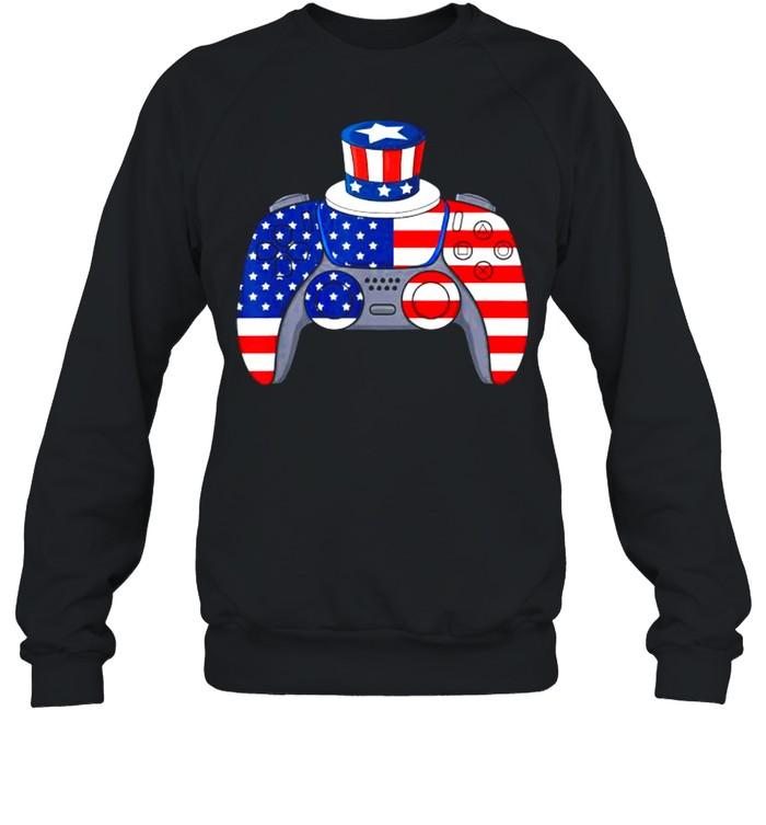 Video Game 4th Of July Gaming American Flag  Unisex Sweatshirt