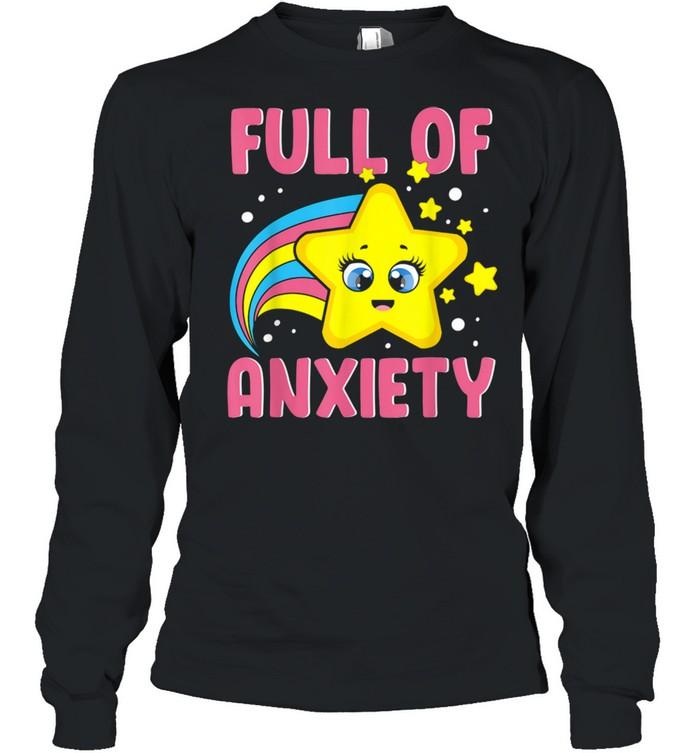 Full Of Anxiety Kawaii Star Rainbow Goth Sarcastic Fun  Long Sleeved T-shirt
