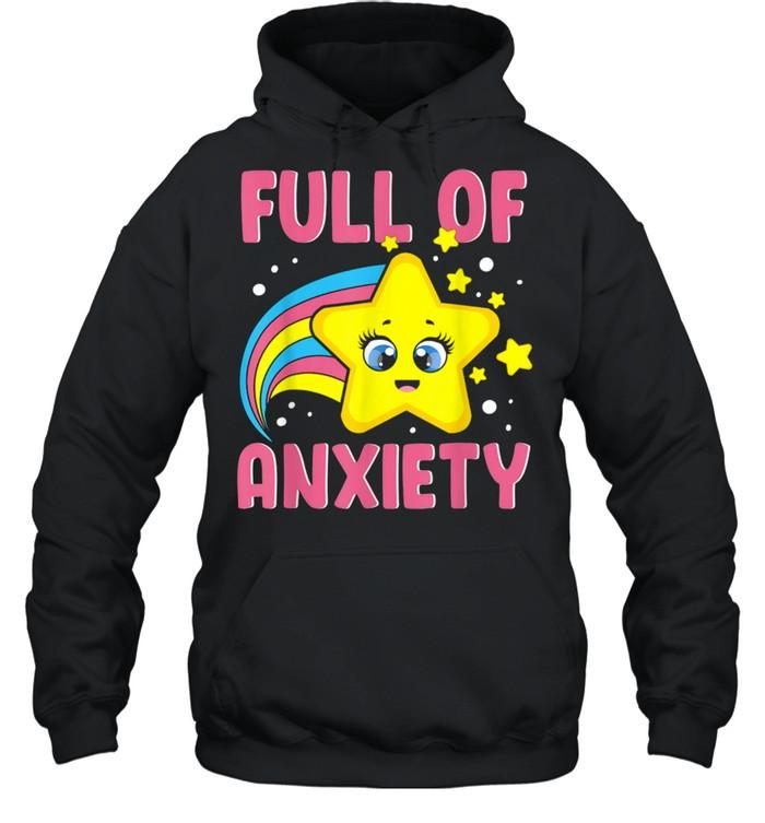 Full Of Anxiety Kawaii Star Rainbow Goth Sarcastic Fun  Unisex Hoodie