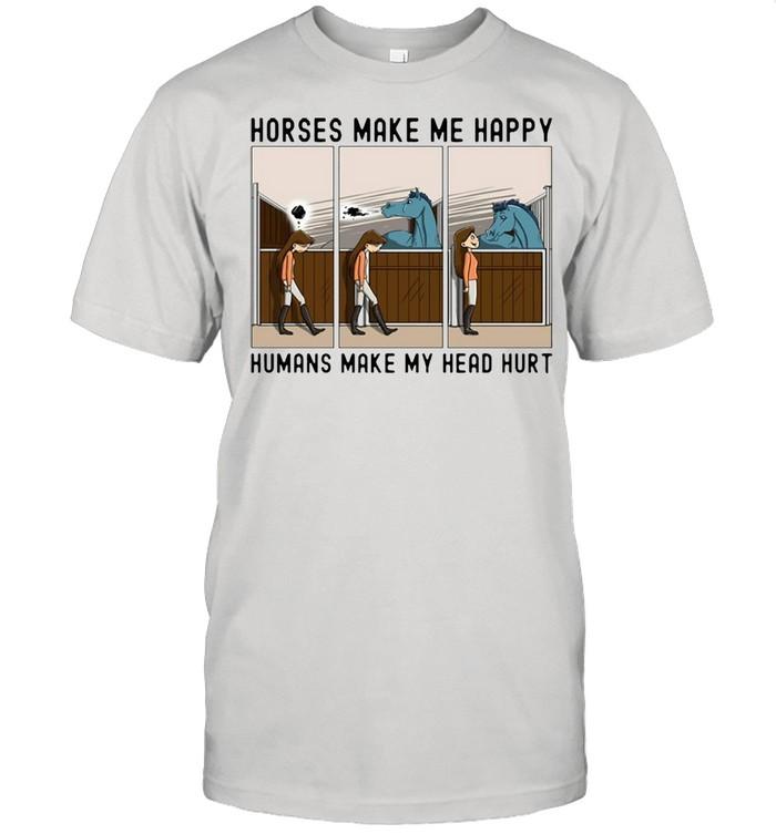 Horse Girl Horses Make Me Happy Humans Make My Head Hurt T-shirt Classic Men's T-shirt