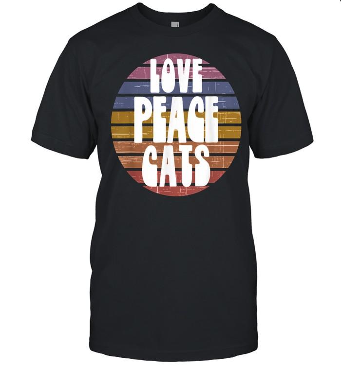 Love Peace Cats Retro Sunset vintage  Classic Men's T-shirt
