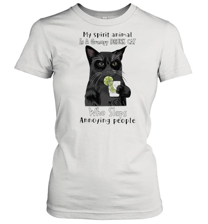 My Spirit Animal Is A Grumpy Drunk Cat Who Slaps Annoying People Cat Classic Women's T-shirt