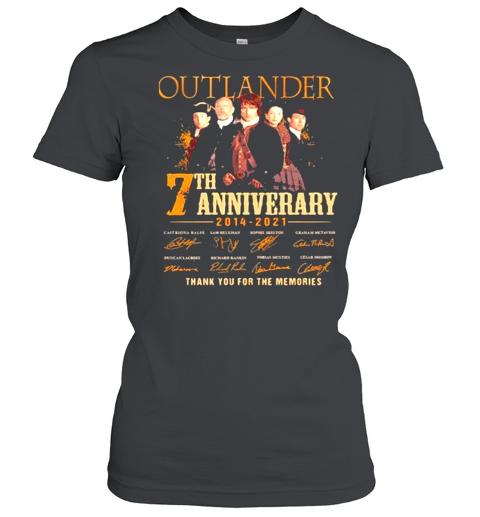 Outlander 7th Anniversary 2014 2021 Thank You For The memories Signature  Classic Women's T-shirt