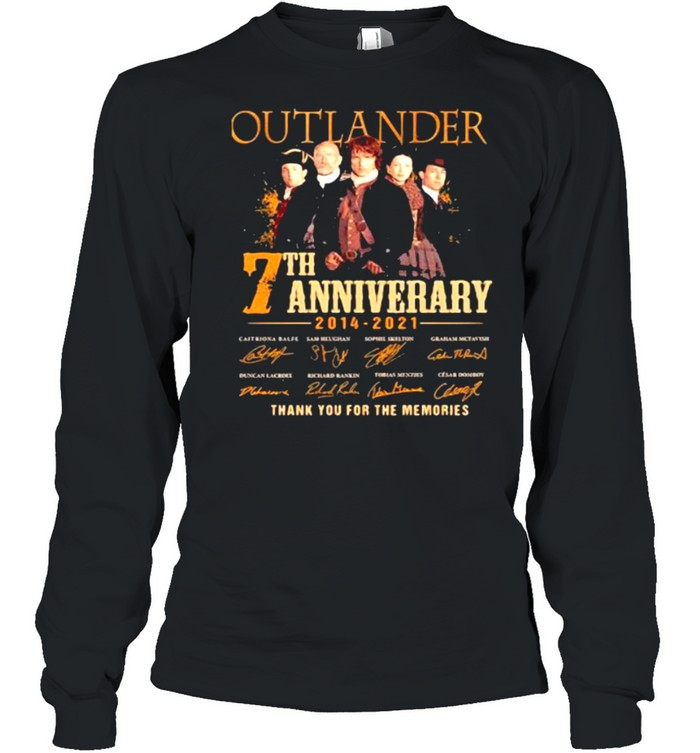 Outlander 7th Anniversary 2014 2021 Thank You For The memories Signature  Long Sleeved T-shirt