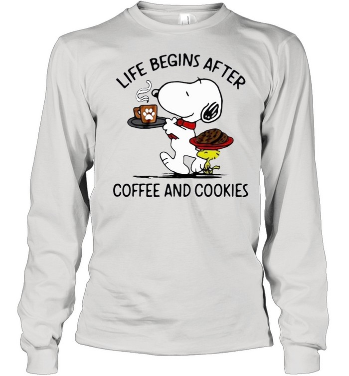 snoopy and woodstock life begins after coffee and cookies shirt Long Sleeved T-shirt