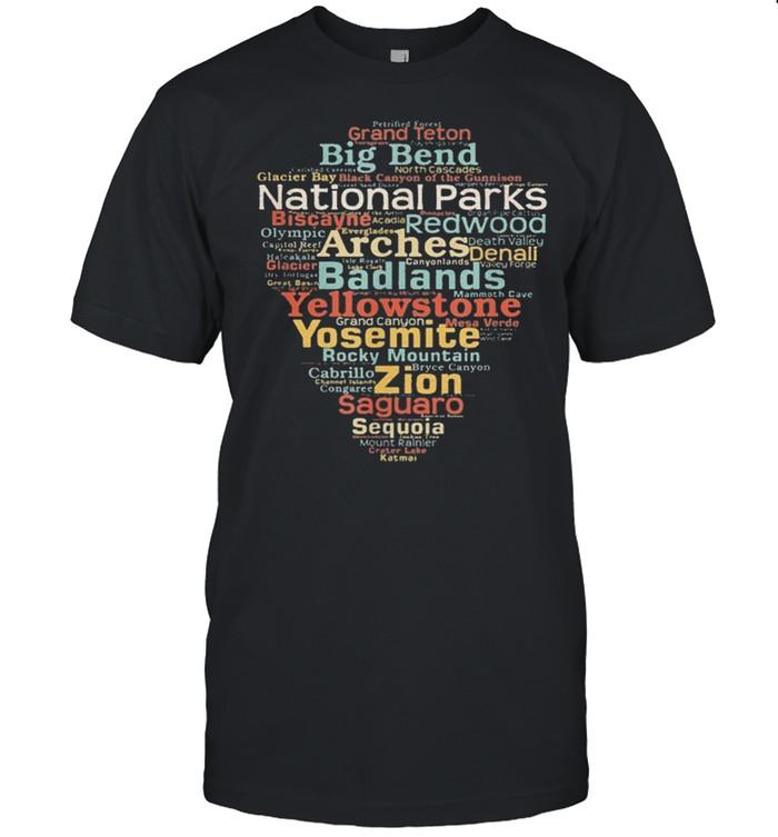 National parks list word cloud camping hiking shirt Classic Men's T-shirt