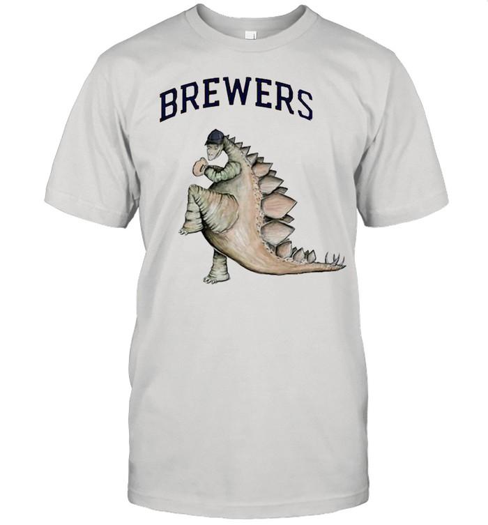 Milwaukee Brewers Godzilla throw a baseball shirt Classic Men's T-shirt