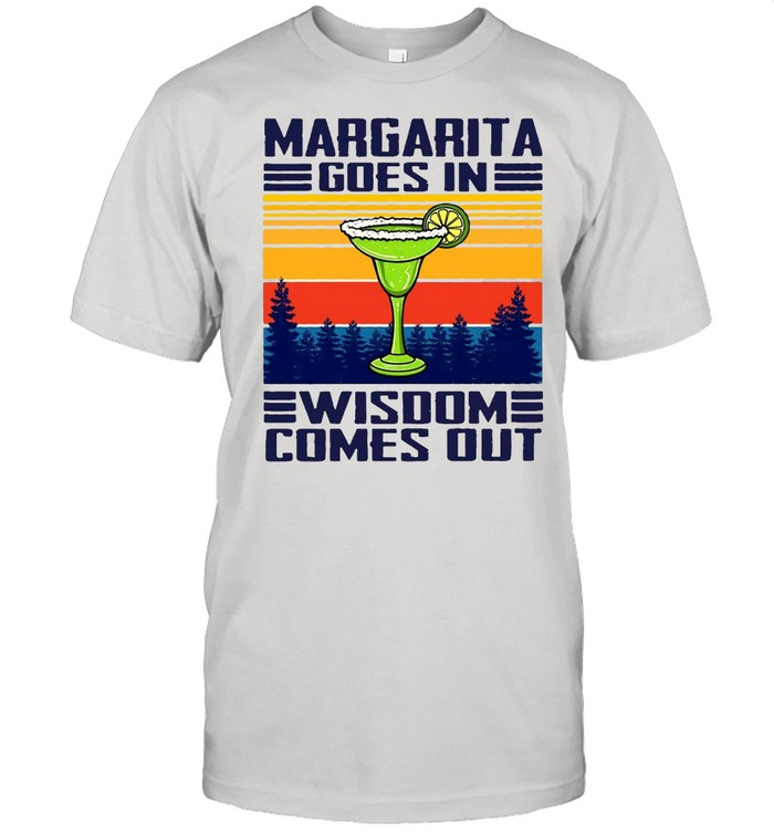 Margarita Goes In Wisdom Comes Out Vintage Retro T-shirt Classic Men's T-shirt