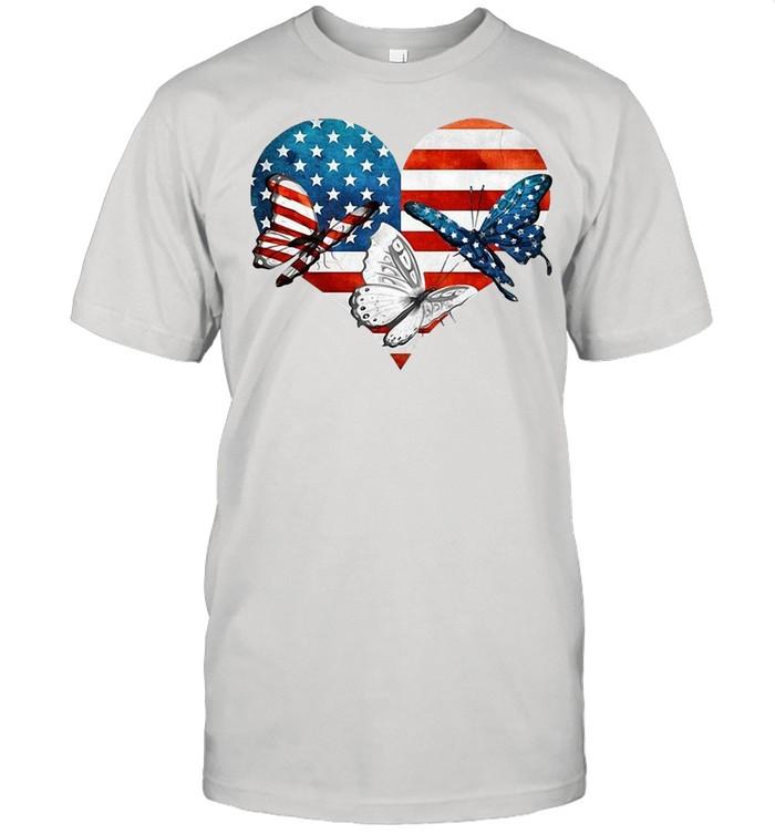Butterflies US Flag Heart T-shirt Classic Men's T-shirt