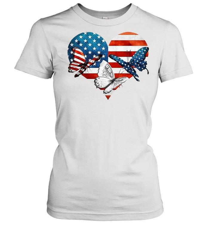 Butterflies US Flag Heart T-shirt Classic Women's T-shirt