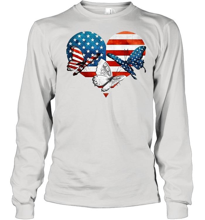 Butterflies US Flag Heart T-shirt Long Sleeved T-shirt