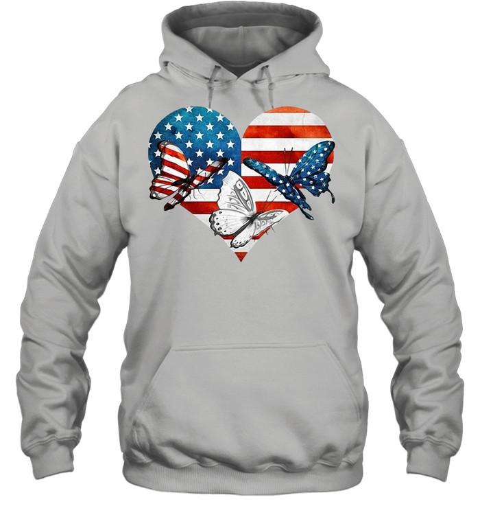 Butterflies US Flag Heart T-shirt Unisex Hoodie
