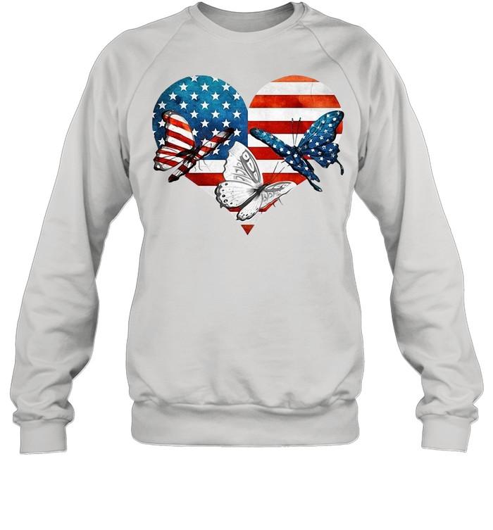 Butterflies US Flag Heart T-shirt Unisex Sweatshirt