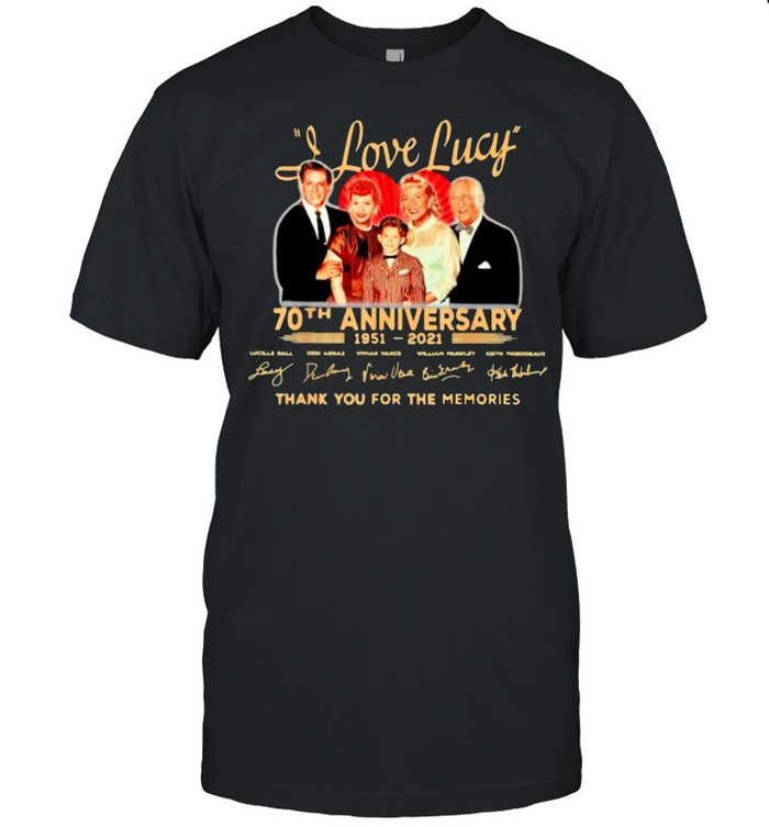 I love lucy 70th anniversary 1951 2021 thank you for the memories signature shirt Classic Men's T-shirt