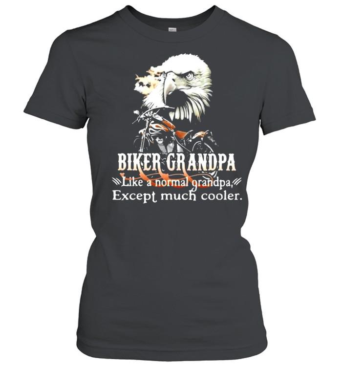 Biker Grandpa Like A Normal Grandpa Except Much Cooler Owl Classic Women's T-shirt