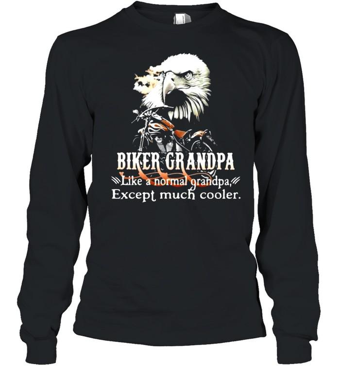 Biker Grandpa Like A Normal Grandpa Except Much Cooler Owl Long Sleeved T-shirt