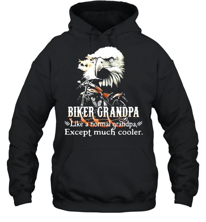 Biker Grandpa Like A Normal Grandpa Except Much Cooler Owl Unisex Hoodie
