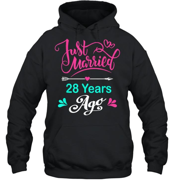 28th Wedding Anniversary Matching Couple Him and Her shirt Unisex Hoodie