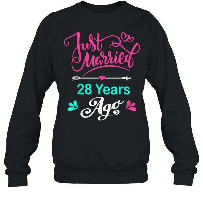 28th Wedding Anniversary Matching Couple Him and Her shirt Unisex Sweatshirt
