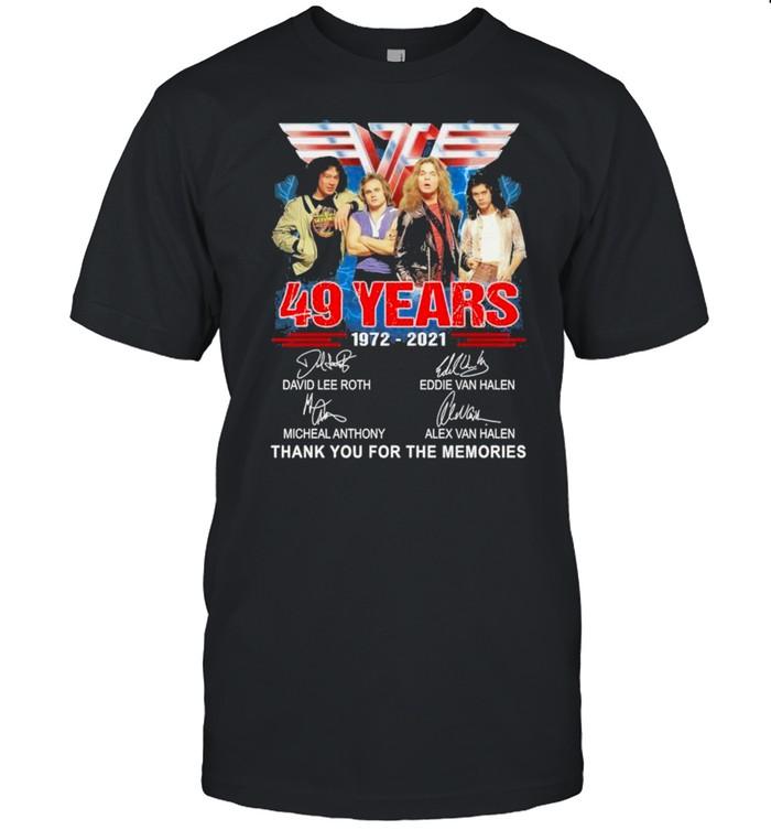 Van Halen Band 49 years 1972 2021 thank you for the memories signatures shirt Classic Men's T-shirt