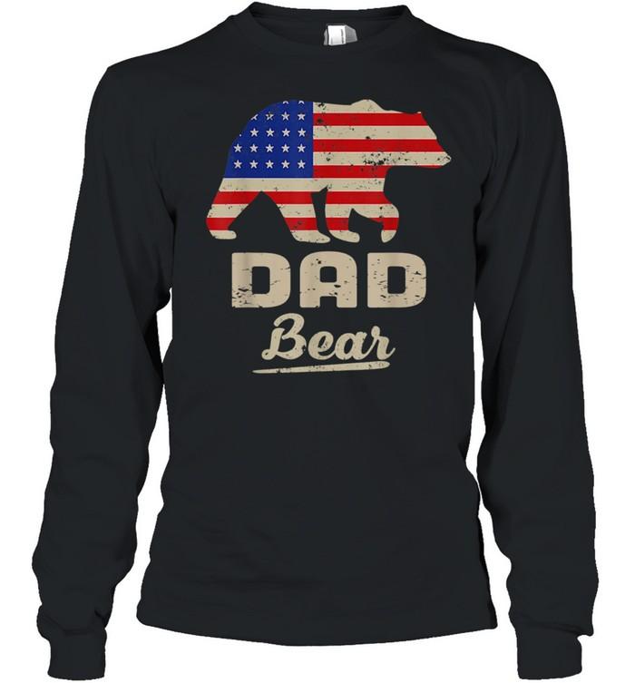 Dad Bear American Flag Distress Fathers Day shirt Long Sleeved T-shirt