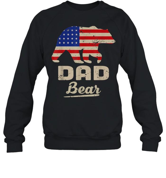 Dad Bear American Flag Distress Fathers Day shirt Unisex Sweatshirt
