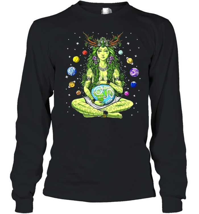 Gaia Greek Goddess Pagan Mother Earth Hippie Nature Witchy T-shirt Long Sleeved T-shirt