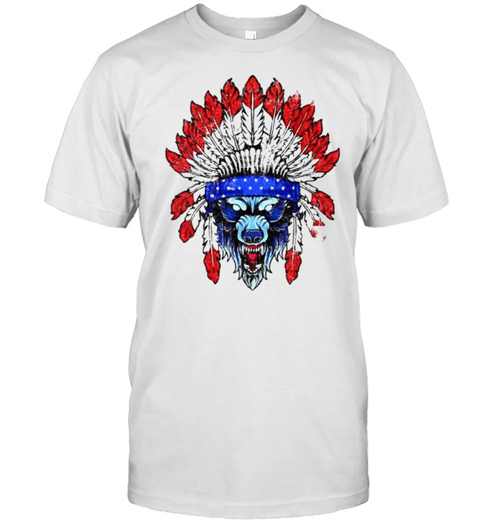 4th Of July Wolf Native American Flag T- Classic Men's T-shirt