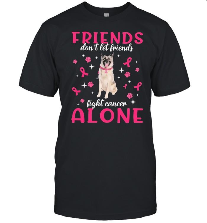 Norwegian Elkhound Friends dont let Friends fight cancer Alone Pink shirt Classic Men's T-shirt