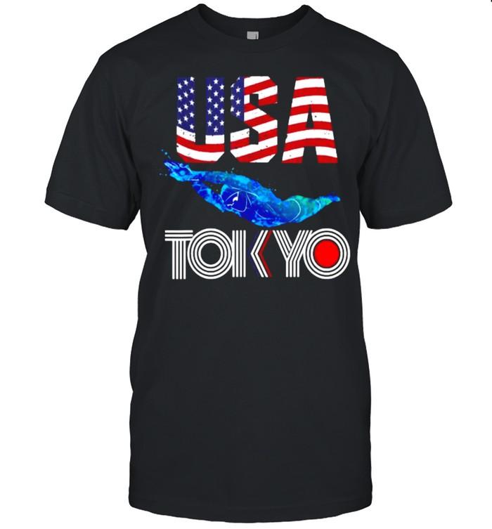 USA 2021 sports America Swimming Flag T- Classic Men's T-shirt
