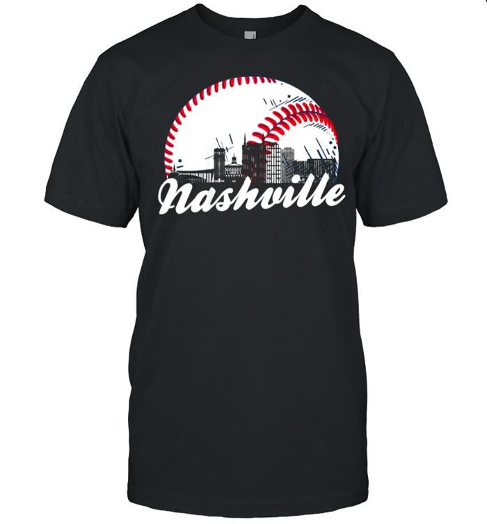 Retro Nashville Baseball Cityscape T- Classic Men's T-shirt