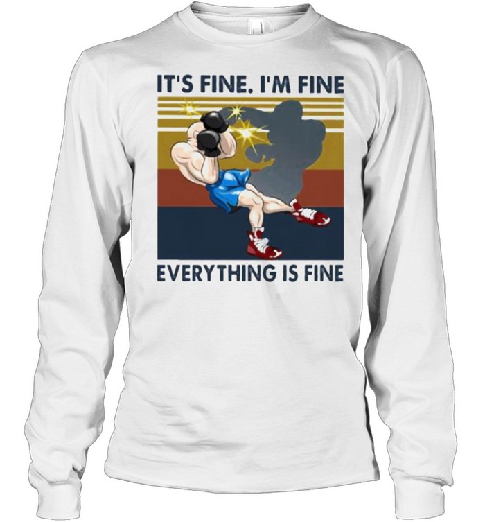 Nice iT's Fine I'm Fine Everything Is Fine Boxing Vintage  Long Sleeved T-shirt