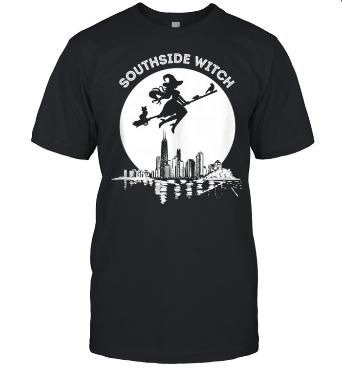Chicago Windy City Southside Witch Flying Moonlight Skyline shirt Classic Men's T-shirt