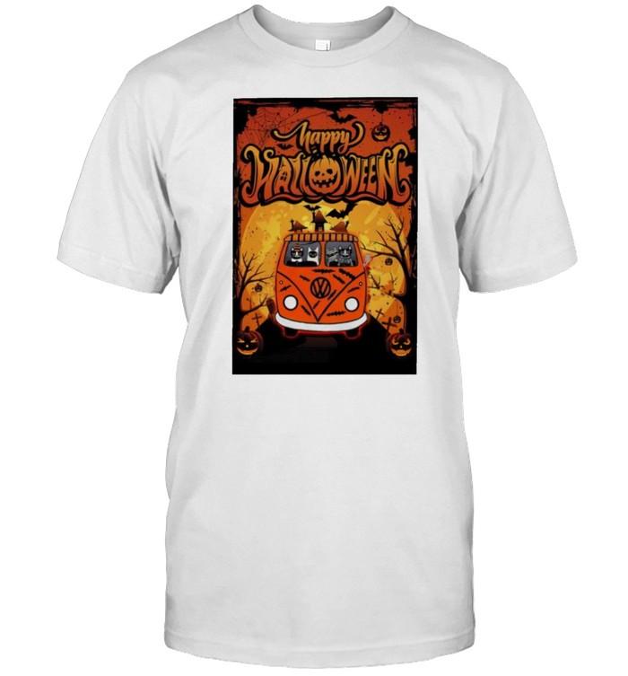 Cat hippie car happy Halloween shirt Classic Men's T-shirt