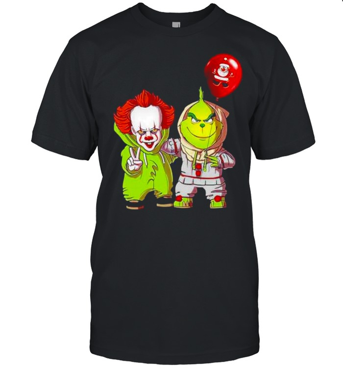 Baby Pennywise And Baby Grinch Merry Christmas  Classic Men's T-shirt