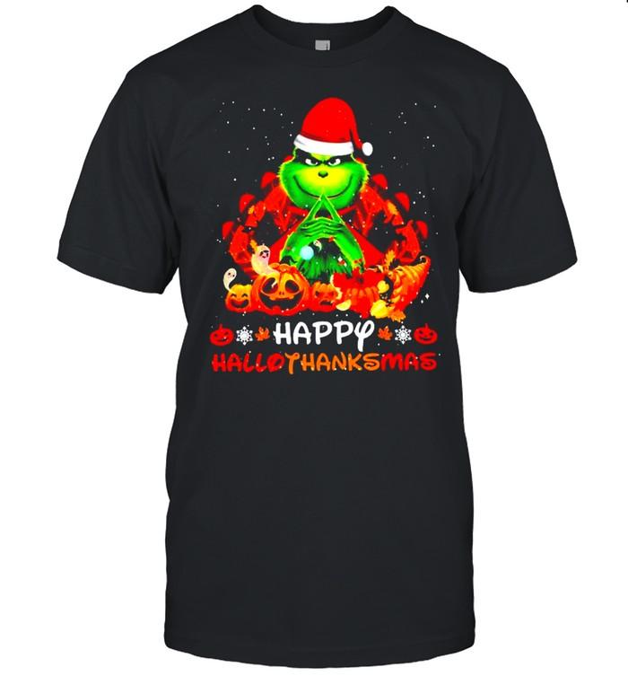Santa Grinch Happy Hallothanksmas Halloween 2021 shirt Classic Men's T-shirt