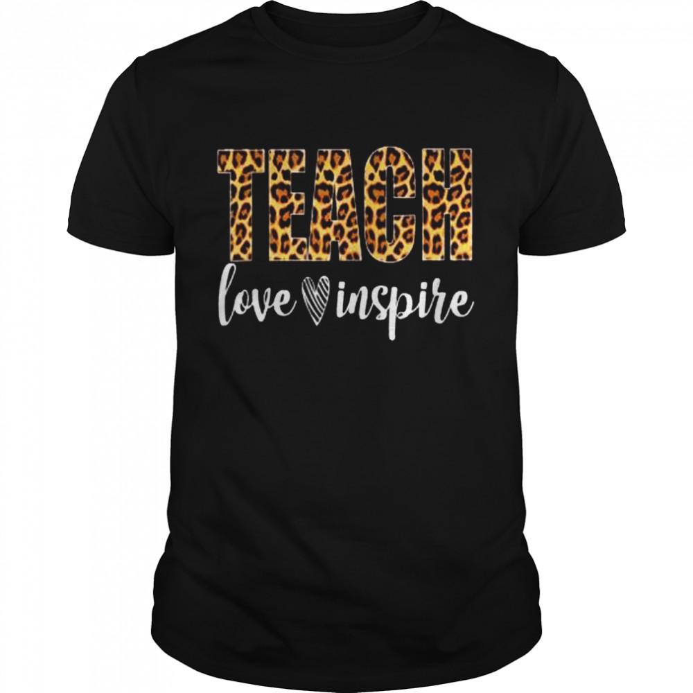 Teach Love Inspire Leopard Print Teacher shirt