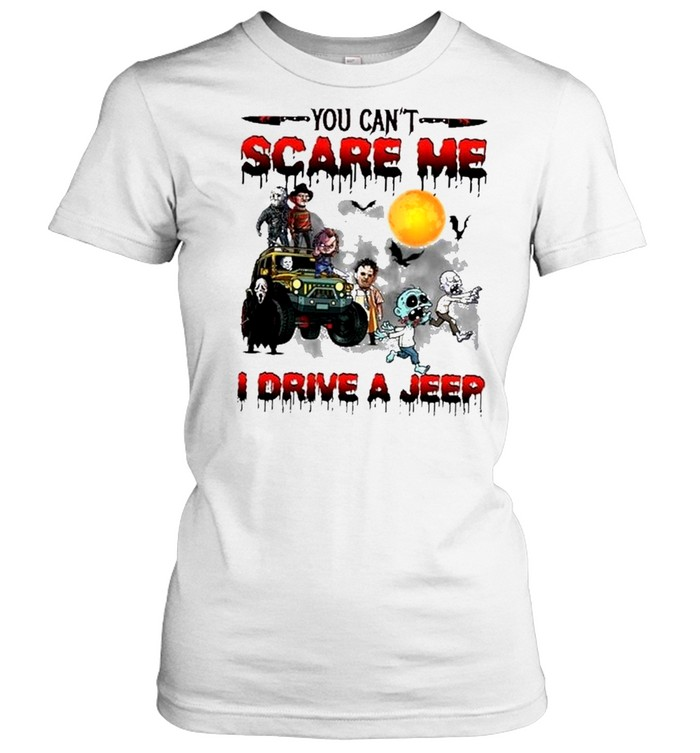 horror characters friends you cant scare me I drive a jeep halloween shirt Classic Women's T-shirt