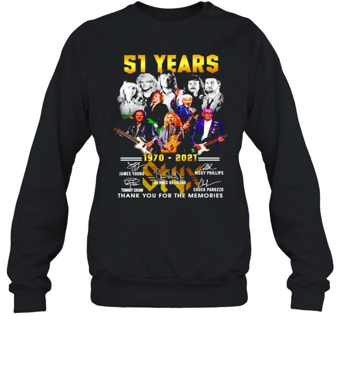 51 years 1970 2021 Styx thank you for the memories shirt Unisex Sweatshirt