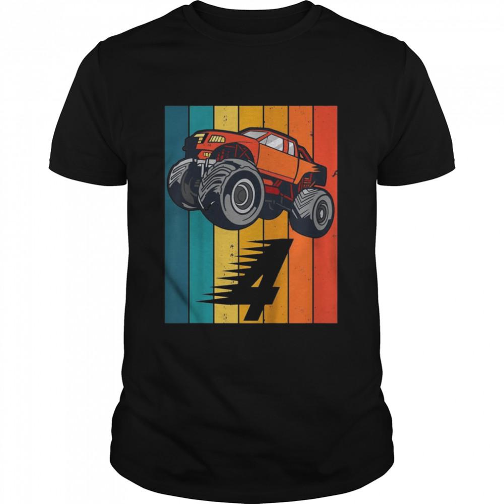 Youth 4 Years Monster Truck Birthday Shirt Boy Car Birthday shirt