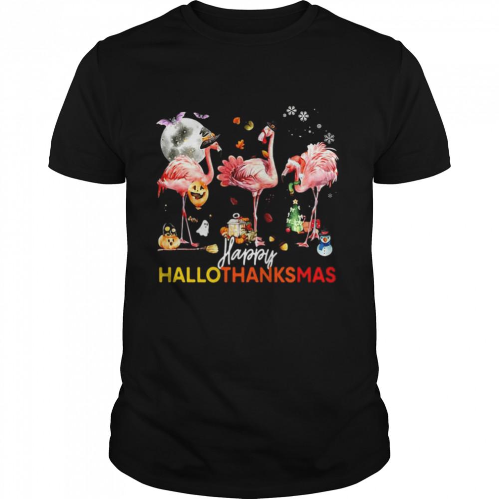Flamingo Happy Halloween Thanksgiving Christmas T-shirt Classic Men's T-shirt