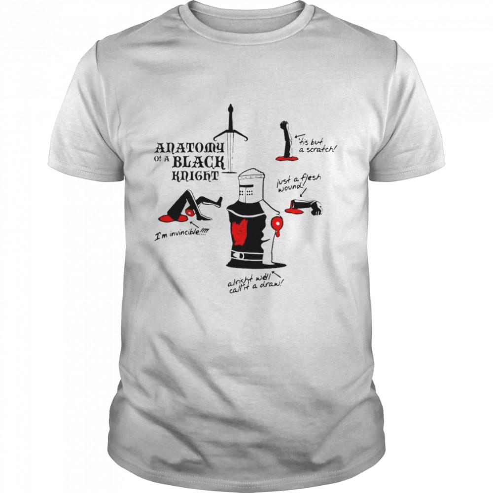 Monty Python Anatomy Of A Black Knight Tis But A Scratch I'm Invincible T-shirt