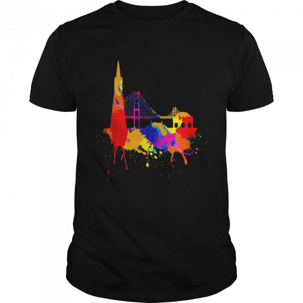 San Francisco Skyline Colored Painting Art I Love California Shirt