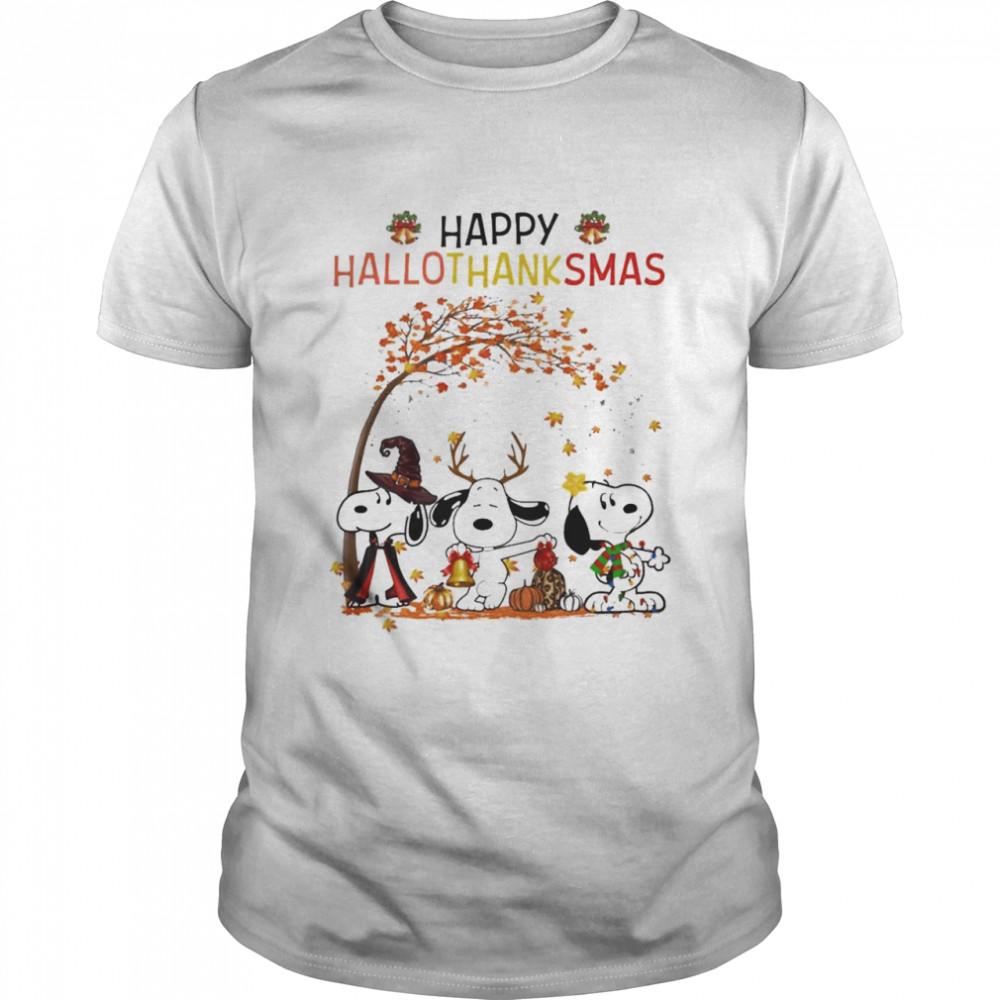 snoopy Witch Rainbow Pumpkin Happy Hallothanksmas shirt