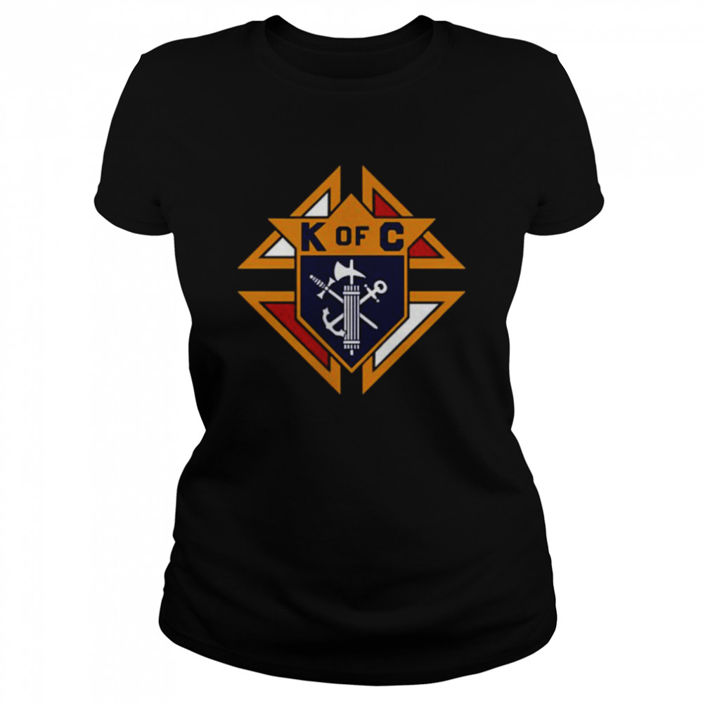 K of C Graphic Knights Of Columbus in Front Of Chest in My Heart T- Classic Women's T-shirt