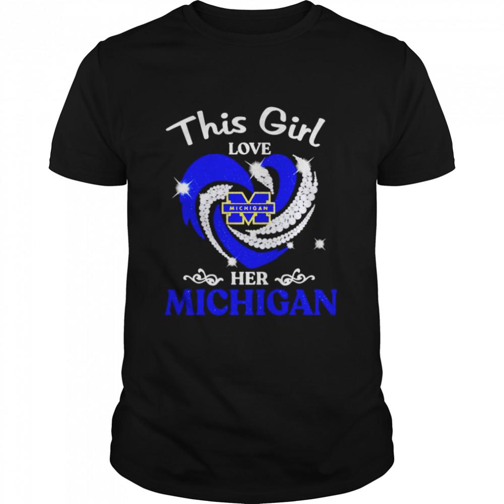 This girl love her Michigan diamond heart shirt