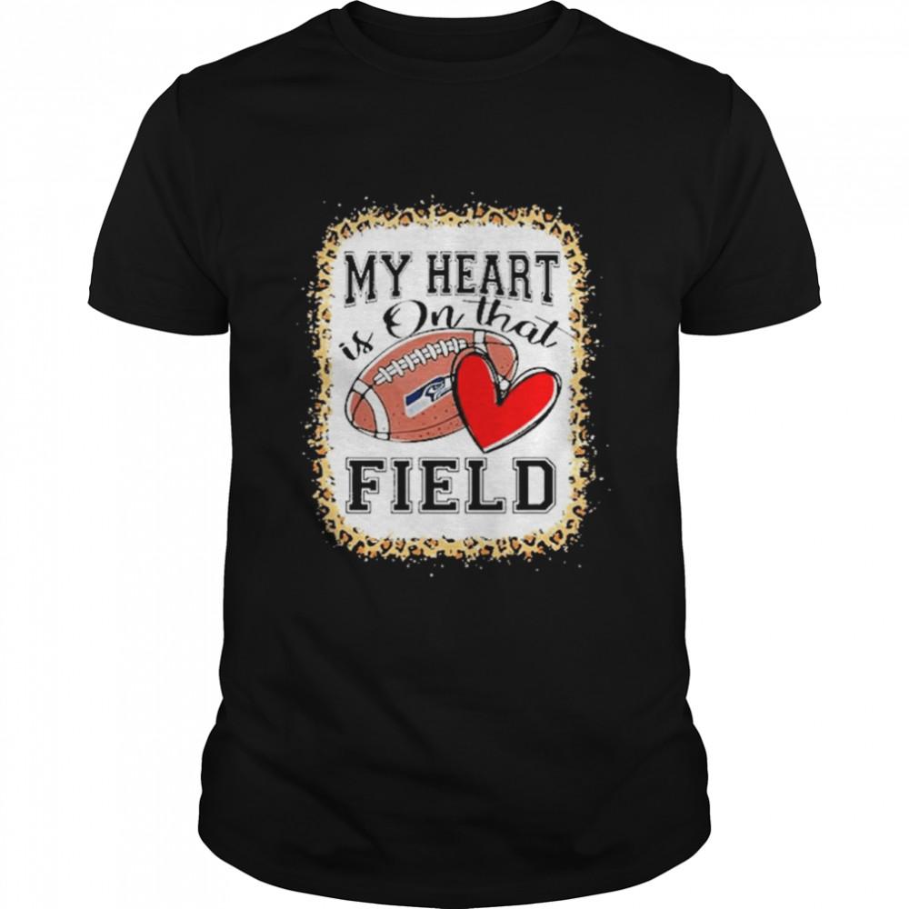 Seattle Seahawks Bleached My Heart Is On That Field Football Mom Leopard Shirt