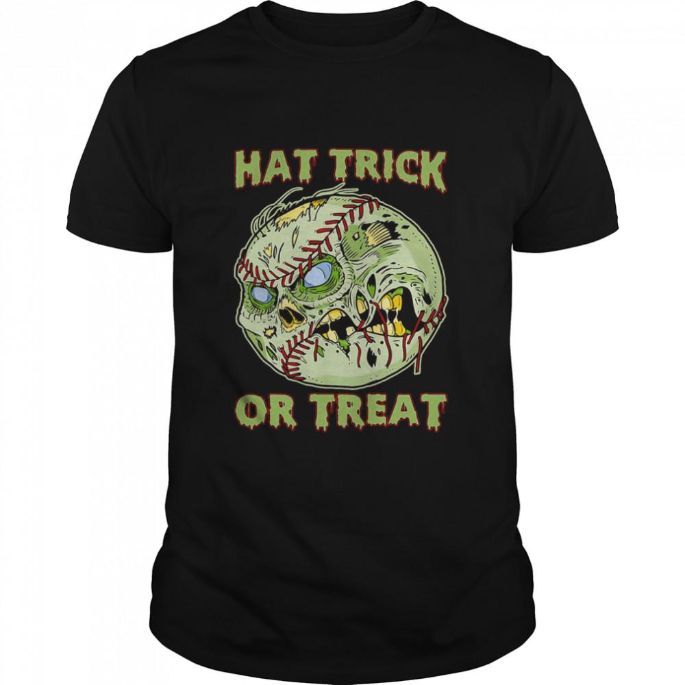 Baseball Skull Hat Trick Or Treat T-shirt